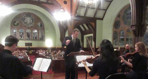 Michael Lister directing the Chamber Orchestra for November 2015 First Friday